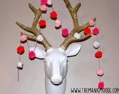 Valentine's Day Pom Pom Garland, Pom Pom Garland, Custom Colors Available