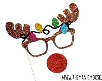 Christmas Photo Booth Props - 2 piece set - GLITTER Photobooth Props - Rudolph the Red-Nose Reindeer with Lights