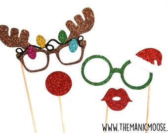 Christmas Photo Booth Props ~ 4 piece set ~ Santa's Helpers ~ GLITTER Photobooth Props