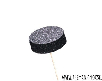 Hockey Puck Photo Prop - Hockey Photo Booth Props - Choose Glitter or Non Glitter Version
