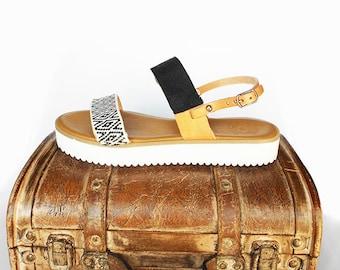 Black Wedges , Summer Wedges , Black White Sandals , Boho Wedges , Ethnic Sandals , Greek Leather Sandals , Bohemian Strappy Sandals
