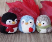 Needle felted penguin -  in black, blue or gray with scarf or heart, eco friendly toy, Christmas tree ornament and keychain