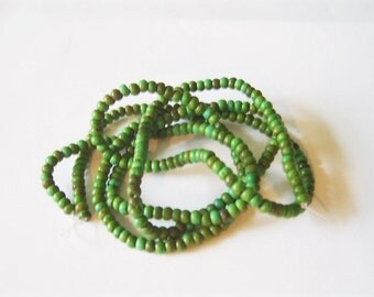 1 Strand 4mm Shades of Green- Light Turquoise Rapeseed, Lightweight, Natural Beads,  150+ Beads,  Canola Plant, Rappi Beads