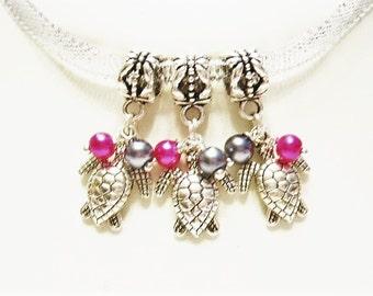 3 Hot Pink & Dark Grey Turtles w/ Hand Wraped, Glass Pearls, European, Dangle, Charm Bracelet Beads -Tibetan Silver