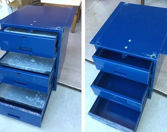 Industrial Lyon steel cabinet modular hanging tool box chest in royal blue steel vintage padlocking drawers with galvanized liners