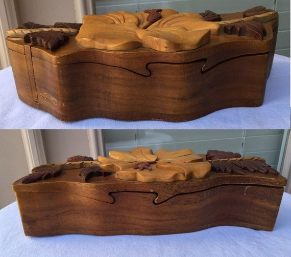 Carved puzzle box hawaiian koa wood hibiscus by