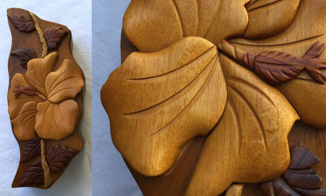 Carved puzzle box hawaiian koa wood hibiscus secret lock