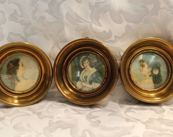 A Cameo Creation - 3 Victorian Women Portraits - Vintage Round Brass Frames