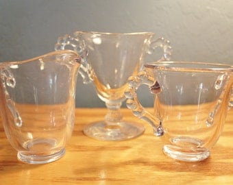 Imperial Candlewick Clear Glass Sugar Bowl & Creamer