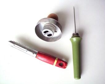 Vintage Kitchen Utensils - Ekco Eterna Wooden Handled Vegetable Peeler, '60's Ice Pick and '50's Doughnut Cutter