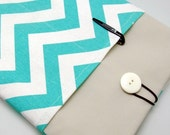 SALE - iPad Air case, iPad cover, iPad sleeve with 2 pockets, PADDED - Aqua chevron (150)