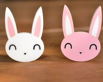 Bunny Brooch - Acrylic Rabbit Brooch - Bunny Pin Badge - Rabbit Brooch - Rabbit Jewellery Jewelry - Pink or White