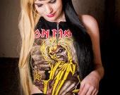 Iron Maiden High Neck Zipper Halter Crop Top S-L Made to Order
