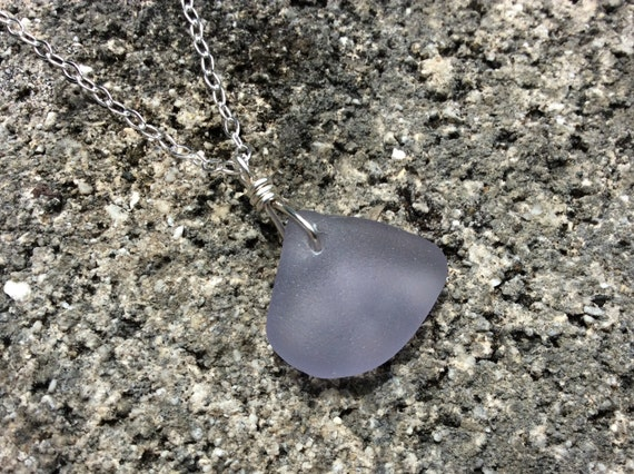 RARE Surf Tumbled Lavender Sea Glass, Beach Glass, Sterling Silver Chain Necklace