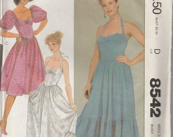 1983 Sewing Pattern McCall's 8542 Misses' dress size 12 bust 34