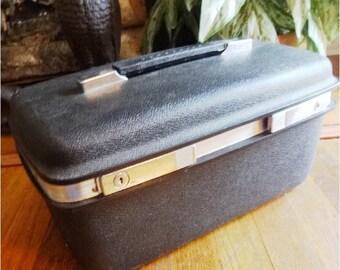 Vintage Black Samsonite Luggage Train Case