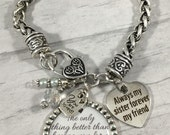 SISTER Bracelet / Sister of the Bride / Maid of Honor / Bridal Party Jewelry / Bridesmaids Gift / Long Distance Friendship / Friends / Heart