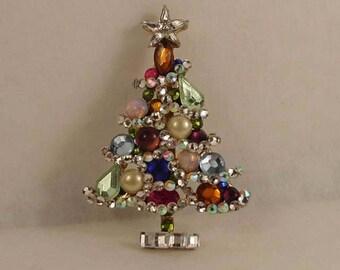 OOAK Jeweled Christmas tree brooch