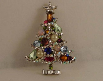 OOAK Jeweled Christmas tree brooch