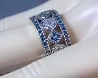 Blue and White Diamond Cigar Band Ring 10mm Wide 1.22 Ctw White Gold 14K 7gm Size 7.25 Wedding Anniversary