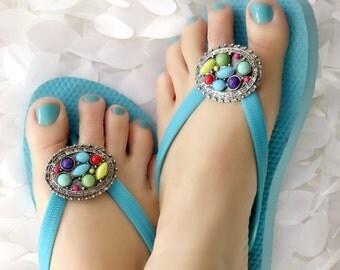 Flip Flop Wrap Clips Multicolor Flexible Removable Versatile Shoe Clips, Slippahs, Sandals, Scarves, Boots, Pendant