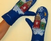 "Felted Gloves ""Christmas gifts"" blue moss green floral house Christmas tree"