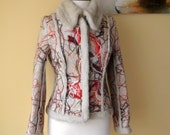 Beautiful felted faux fur wool winter jacket gray-beige saffron ginger   red