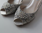 Glimmer Satin Bridal Wedding Shoes - Any Size - Pick your own shoe color and crystal color