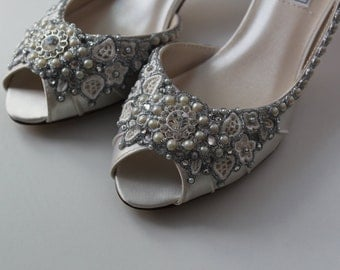 Wedding Shoes - Glimmer Satin Peep Toe Heels - Lace, Crystals and Pearls - Ivory/White/Custom Colors