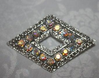 Vintage Silver Tone Aurora Borealis Rhinestone Diamond Shape Pin Brooch