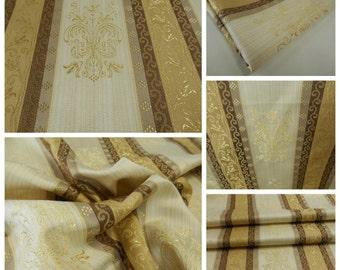 Brocade Fabric- pc 26in x 35 in - Decor Fabric- Brocade- Gold- Coffe-Walnut-Muslin