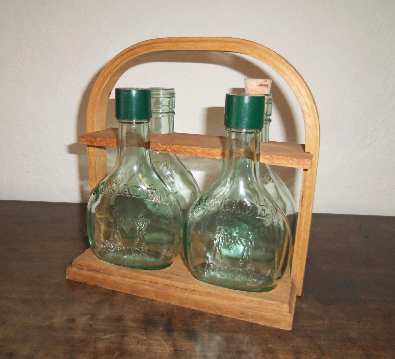 Vintage Almaden Pony Bottles And Wood Tote