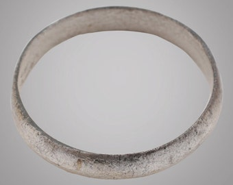 Ancient Silver over bronze Viking Age Ring, C.866-1067A.D. Size 9 1/4  (18.4mm)(Brr842)