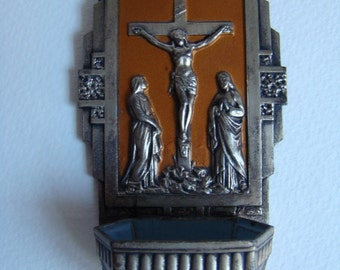 French alloy Holy Water Font with the Cross