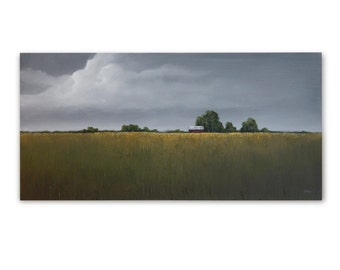 "Original Art, LARGE LANDSCAPE painting 24 X 48 ""One Gray Day"""