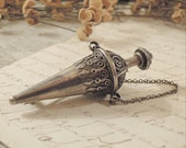 Antique Silver Chatelaine Style Brooch / Edwardian / Silver Plate
