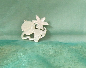 Sale Vintage Mother Of Pearl Hand Carved Brooch Water Buffalo Hut Palm Tree