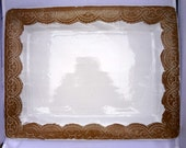 Ceramic Platter, Large Wedding Platter, Lace serving platter, Ceramic wedding dish, lace serving dish, white wedding platter, white wedding
