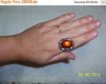 20 OFF EVERYTHING Vintage Amber Ring. Sterling Silver.
