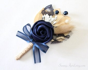 Navy Blue Rosette Boutonniere/ Country Wedding Lapel Pin/ Handmade Wedding Accessory