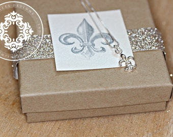Fleur de lis Necklace, Keepsake,  Women's jewelry, Sterling silver charm necklace