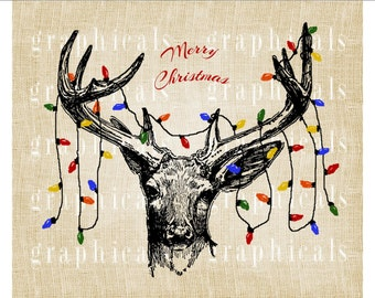 Christmas deer Tree lights Instant digital download image for iron on fabric transfer burlap decoupage pillows cards tote bags No. 2247