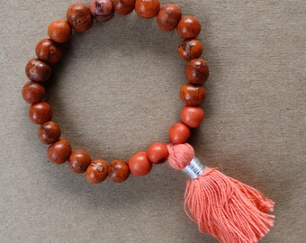 Rainforest  Born Mala Bracelet - TANGERINE - Sustainable Acai Seeds -  yoga, yogi, namaste, mala, om