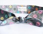 Light Gray Headband - Colorful dots - Head scarf - Bandana - Cotton Hair Wrap