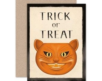 Halloween Greeting Card, Cat Halloween Notecard, This Is Halloween, Jack O'Lantern Art