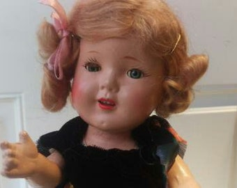 Vintage Hard Plastic Shirley Temple Style Doll