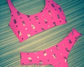 Pineapple Gold Hot Pink Scoop Neck Cheek Scrunch Back Bikini