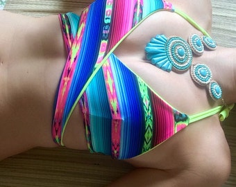 Neon Ethnic Hippie Mexican Boho Wrap Bikini Top