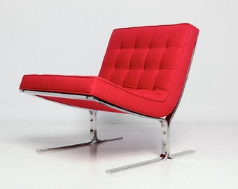 Mid Century Modern Red Arm Less Lounge Chair Nico Zographos Style Eames Era