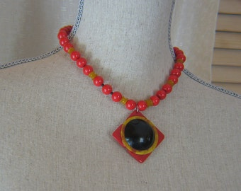 Handmade Vintage Bakelite Stacked Red, Black and Butterscotch Necklace